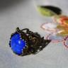 Inel vintage cu piatra semipretioasa, howlit albastru, in cadru inel din bronz filigranat, reglabil; VANDUT