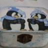 """Cutie ,,La cafea cu…pinguinii"""", de sezon, ideala pentru oferit cadou simpla sau cu o bijuterie in interior; pictata manual si decorata cu hartie de orez, apoi patinata cu patin argintie, in spiritul iernii; la final, cutia a fost lacuita pentru maxima protectie; foarte dulce si simpatica; 11X7X5 cm; UNICAT; VANDUTA"""