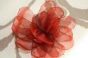 Brosa din organza grena, cu petale; diam. 10 cm; VANDUTA, se poate reface la comanda