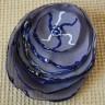 Brosa Deep; din voal fin de un gri delicat, pictata manual cu vopseluri speciale pentru textile; are cusute manual margelute de nisip albastru transparent cu foita argintata la interior; dim. 95X80 mm; COMANDA SPECIALA, insa se poate reface la cerere