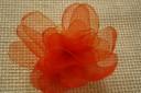 Brosa din organza oranj, cu petale; dim. 9-10 cm; VANDUTA, se poate reface la comanda