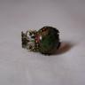 Inel vintage cu piatra semipretioasa, unakit si cadru inel filigranat bronz; piatra are 15 mm, iar inelul este reglabil; VANDUT