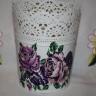 """,,Trandafiri"""", masca pentru ghiveci, din otel galvanizat, dantelat, cu alura vintage, superb; 15X12 cm, potrivit pentru un ghiveci de 9 cm inlatime si 11 latime; decorat prin tehnica decoupage si lacuit manual; UNICAT"""