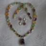 """,,Convietuire armonioasa"""", set compus din colier si cercei si realizat dintr-o combinatie foarte armonioasa de pietre semipretioase (ametist, citrin, prehnit, aventurin, cuart transparent, cuart roz), forme neregulate; accesorii metalice argint tibetan; UNICAT"""