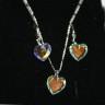 """,,Inima de Swarovski"""", un set realizat din cristale Sw si argint 925 (marcat); setul vine ambalat in cutie eleganta; UNICAT; INDISPONIBIL"""