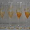 Pahare de sampanie pentru miri si nasi, pictate manual cu vopsea speciala pentru sticla si personalizate; realizate la comanda; pretul afisat este pentru setul de 4 pahare