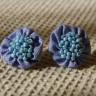 Cercei textili, culoare albastra si manunchi de margele de nisip bleu sidef, diam 2,5 cm; VANDUTI, se pot reface la comanda