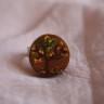 Inel Copacul; realizat din baza argintie reglabila si lemn pictat manual si lacuit pentru protectie si finisare; VANDUT