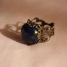 Inel vintage cu piatra semipretioasa, lapis lazuli, in cadru inel din bronz filigranat, reglabil; VANDUT