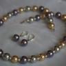 ,,Mallorca 1″, set pretios, realizat din perle tip Mallorca in culori deosebite (gri, coniac, mov inchis); inchiderea colierului este din argint 945 (marcat), iar cerceii sunt montati integral pe argint 925 (de asemenea, marcat); colierul se asaza frumos la baza gatului; setul vine intr-o prezentare eleganta, cutia speciala care se observa in fotografie; UNICAT